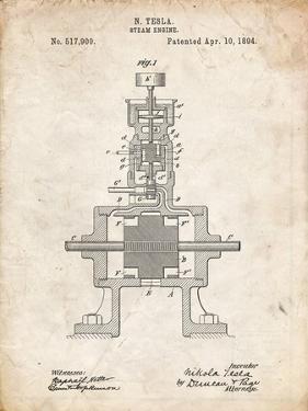 PP1096-Vintage Parchment Tesla Steam Engine Patent Poster by Cole Borders