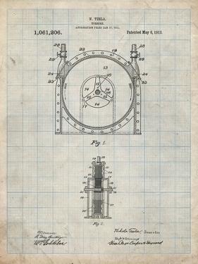 PP1097-Antique Grid Parchment Tesla Turbine Patent Poster by Cole Borders