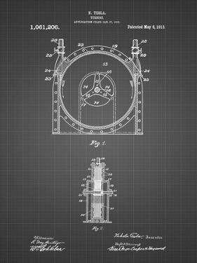 PP1097-Black Grid Tesla Turbine Patent Poster by Cole Borders