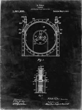 PP1097-Black Grunge Tesla Turbine Patent Poster by Cole Borders