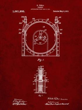 PP1097-Burgundy Tesla Turbine Patent Poster by Cole Borders