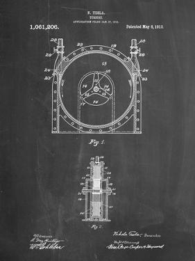 PP1097-Chalkboard Tesla Turbine Patent Poster by Cole Borders