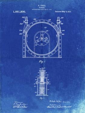 PP1097-Faded Blueprint Tesla Turbine Patent Poster by Cole Borders