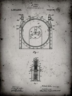 PP1097-Faded Grey Tesla Turbine Patent Poster by Cole Borders