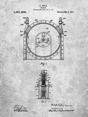 PP1097-Slate Tesla Turbine Patent Poster by Cole Borders