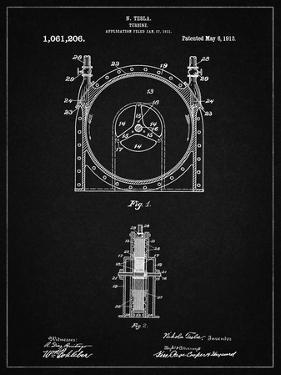 PP1097-Vintage Black Tesla Turbine Patent Poster by Cole Borders