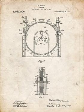 PP1097-Vintage Parchment Tesla Turbine Patent Poster by Cole Borders