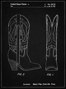 PP1098-Vintage Black Texas Boot Company 1983 Cowboy Boots Patent Poster by Cole Borders