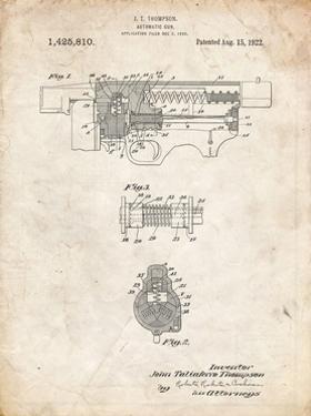 PP1099-Vintage Parchment Thompson Submachine Gun Patent Poster by Cole Borders