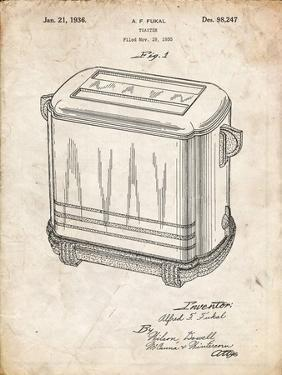 PP1100-Vintage Parchment Toaster Patent Art, Vintage Toaster by Cole Borders