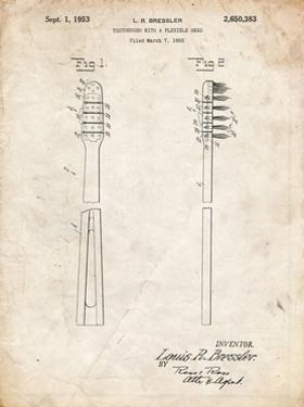 PP1102-Vintage Parchment Toothbrush Flexible Head Patent Poster by Cole Borders