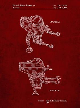 PP1107-Burgundy Mattel Space Walking Toy Patent Poster by Cole Borders