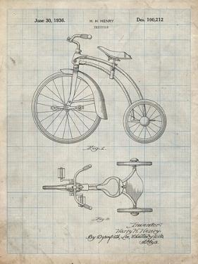 PP1114-Antique Grid Parchment Tricycle Patent Poster by Cole Borders
