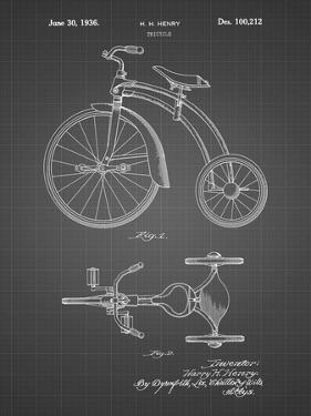PP1114-Black Grid Tricycle Patent Poster by Cole Borders