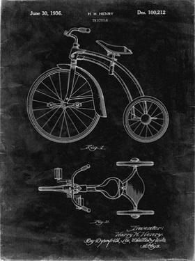 PP1114-Black Grunge Tricycle Patent Poster by Cole Borders