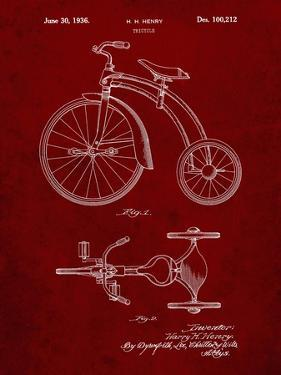 PP1114-Burgundy Tricycle Patent Poster by Cole Borders