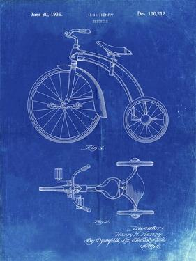 PP1114-Faded Blueprint Tricycle Patent Poster by Cole Borders