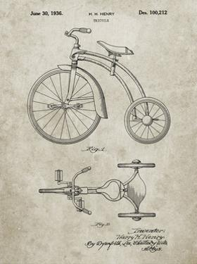 PP1114-Sandstone Tricycle Patent Poster by Cole Borders