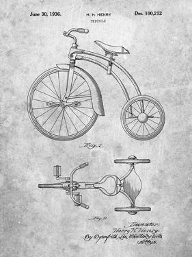 PP1114-Slate Tricycle Patent Poster by Cole Borders
