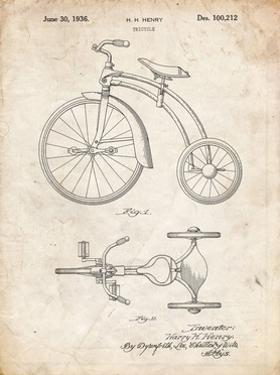 PP1114-Vintage Parchment Tricycle Patent Poster by Cole Borders