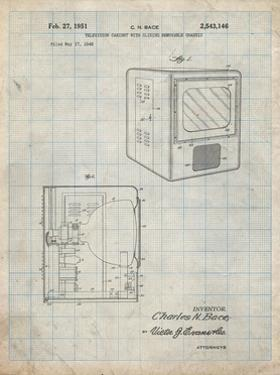 PP1115-Antique Grid Parchment Tube Television Patent Poster by Cole Borders