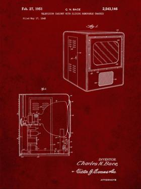 PP1115-Burgundy Tube Television Patent Poster by Cole Borders