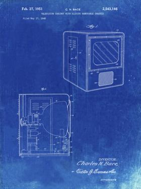 PP1115-Faded Blueprint Tube Television Patent Poster by Cole Borders