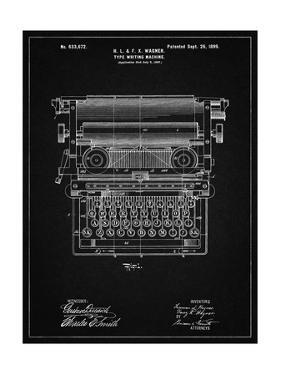 PP1118-Vintage Black Underwood Typewriter Patent Poster by Cole Borders