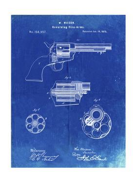 PP1119-Faded Blueprint US Firearms Single Action Army Revolver Patent Poster by Cole Borders