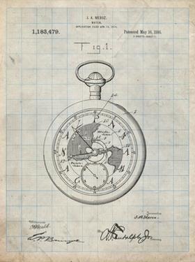 PP112-Antique Grid Parchment U.S. Watch Co. Pocket Watch Patent Poster by Cole Borders