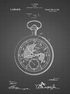PP112-Black Grid U.S. Watch Co. Pocket Watch Patent Poster by Cole Borders