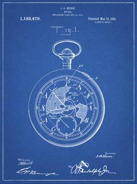 PP112-Blueprint U.S. Watch Co. Pocket Watch Patent Poster by Cole Borders