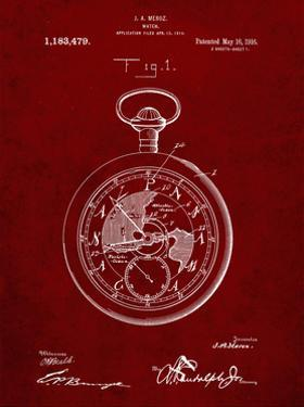 PP112-Burgundy U.S. Watch Co. Pocket Watch Patent Poster by Cole Borders