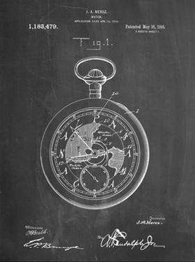 PP112-Chalkboard U.S. Watch Co. Pocket Watch Patent Poster by Cole Borders