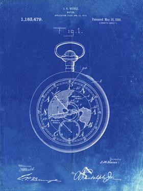 PP112-Faded Blueprint U.S. Watch Co. Pocket Watch Patent Poster by Cole Borders