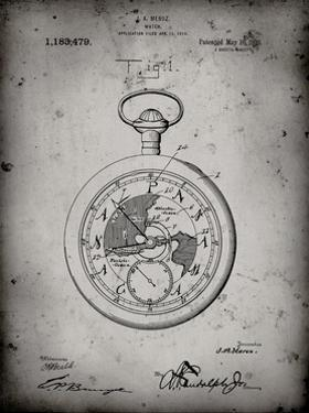 PP112-Faded Grey U.S. Watch Co. Pocket Watch Patent Poster by Cole Borders