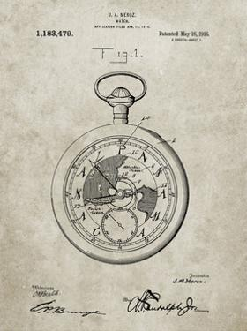 PP112-Sandstone U.S. Watch Co. Pocket Watch Patent Poster by Cole Borders