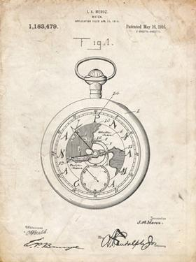 PP112-Vintage Parchment U.S. Watch Co. Pocket Watch Patent Poster by Cole Borders