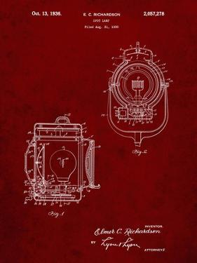 PP1123-Burgundy Vintage Movie Set Light Patent Poster by Cole Borders