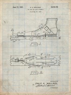 PP1124-Antique Grid Parchment Vintage Ski's Patent Poster by Cole Borders