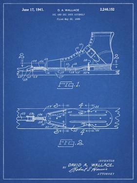 PP1124-Blueprint Vintage Ski's Patent Poster by Cole Borders