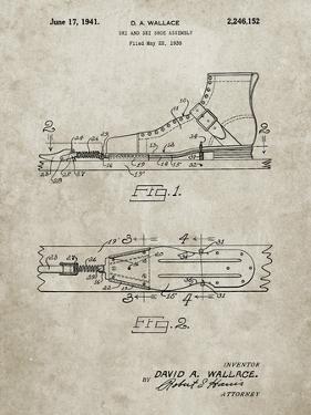 PP1124-Sandstone Vintage Ski's Patent Poster by Cole Borders