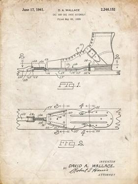 PP1124-Vintage Parchment Vintage Ski's Patent Poster by Cole Borders