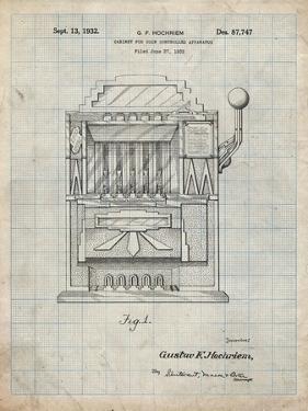 PP1125-Antique Grid Parchment Vintage Slot Machine 1932 Patent Poster by Cole Borders