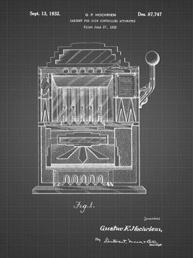 PP1125-Black Grid Vintage Slot Machine 1932 Patent Poster by Cole Borders