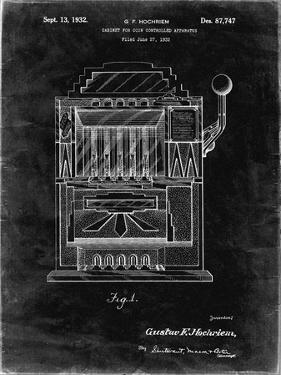 PP1125-Black Grunge Vintage Slot Machine 1932 Patent Poster by Cole Borders