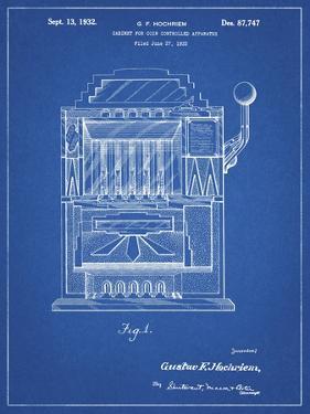 PP1125-Blueprint Vintage Slot Machine 1932 Patent Poster by Cole Borders