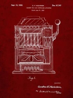 PP1125-Burgundy Vintage Slot Machine 1932 Patent Poster by Cole Borders