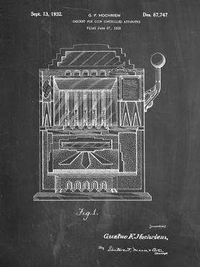 PP1125-Chalkboard Vintage Slot Machine 1932 Patent Poster by Cole Borders