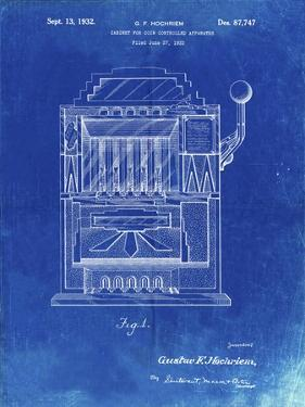 PP1125-Faded Blueprint Vintage Slot Machine 1932 Patent Poster by Cole Borders